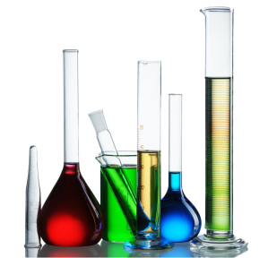 Chemical-flasks-with-reagents-isolated-on-white-background